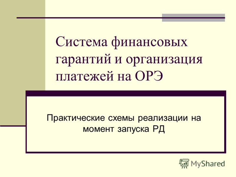 1 Система финансовых гарантий и организация платежей на ОРЭ Практические схемы реализации на момент запуска РД
