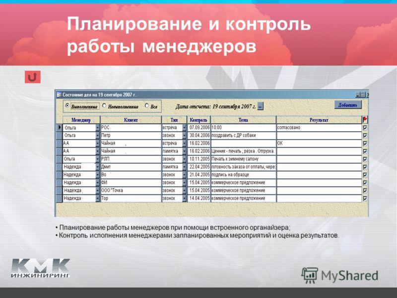 Планирование и контроль работы менеджеров Планирование работы менеджеров при помощи встроенного органайзера;Планирование работы менеджеров при помощи встроенного органайзера; Контроль исполнения менеджерами запланированных мероприятий и оценка резуль