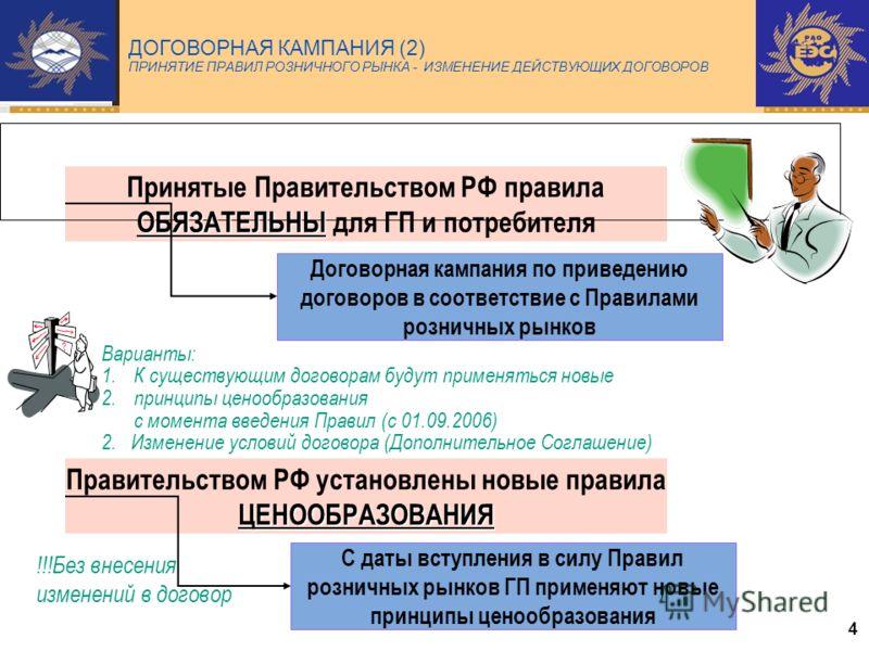 4 ДОГОВОРНАЯ КАМПАНИЯ (2) ПРИНЯТИЕ ПРАВИЛ РОЗНИЧНОГО РЫНКА - ИЗМЕНЕНИЕ ДЕЙСТВУЮЩИХ ДОГОВОРОВ ОБЯЗАТЕЛЬНЫ Принятые Правительством РФ правила ОБЯЗАТЕЛЬНЫ для ГП и потребителя Договорная кампания по приведению договоров в соответствие с Правилами рознич