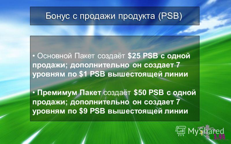 Бонус с продажи продукта (PSB) Основной Пакет создаёт $25 PSB с одной продажи; дополнительно он создает 7 уровням по $1 PSB вышестоящей линии Премимум Пакет создаёт $50 PSB с одной продажи; дополнительно он создает 7 уровням по $9 PSB вышестоящей лин