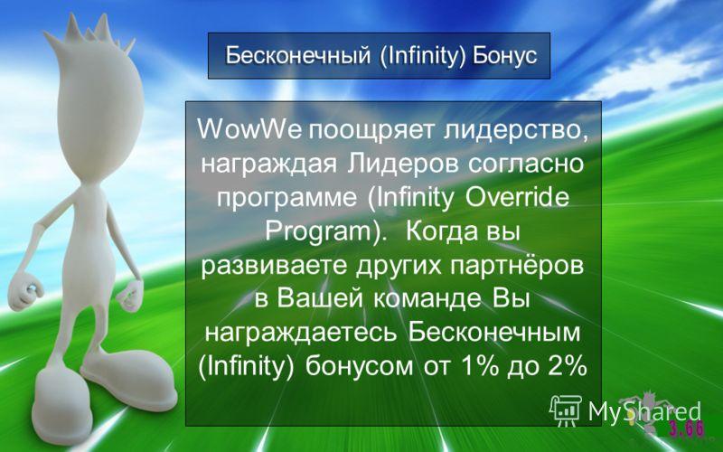 Бесконечный (Infinity) Бонус WowWe поощряет лидерство, награждая Лидеров согласно программе (Infinity Override Program). Когда вы развиваете других партнёров в Вашей команде Вы награждаетесь Бесконечным (Infinity) бонусом от 1% до 2%