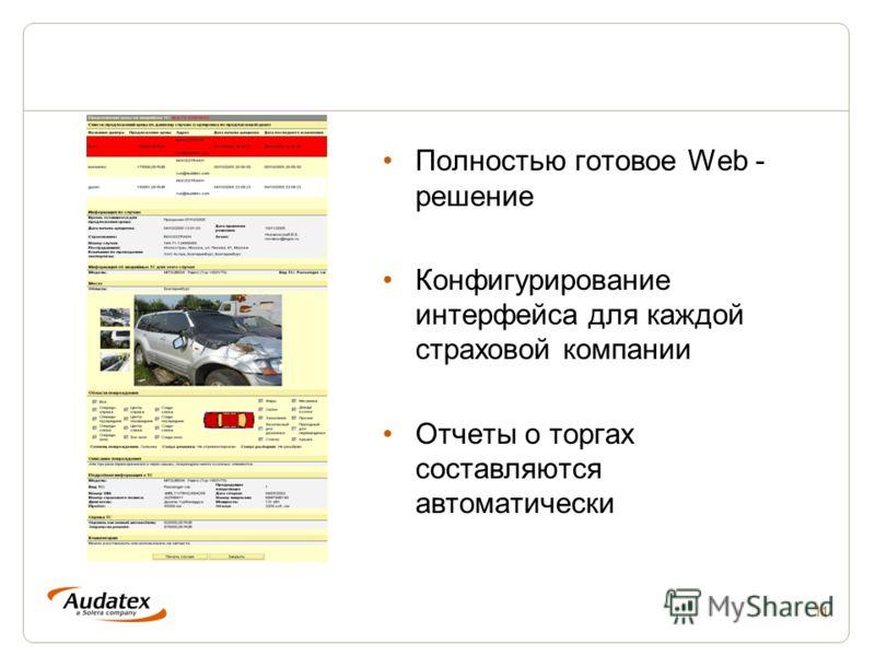11 Полностью готовое Web - решение Конфигурирование интерфейса для каждой страховой компании Отчеты о торгах составляются автоматически