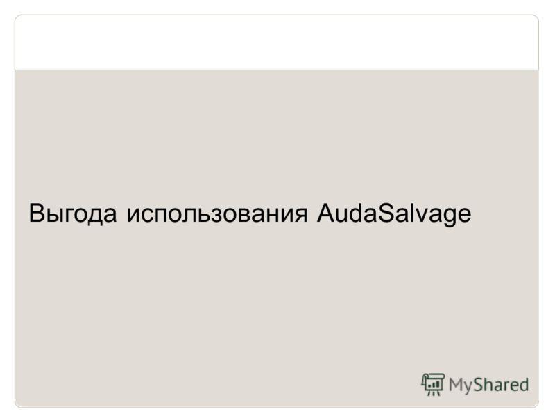 13 Выгода использования AudaSalvage