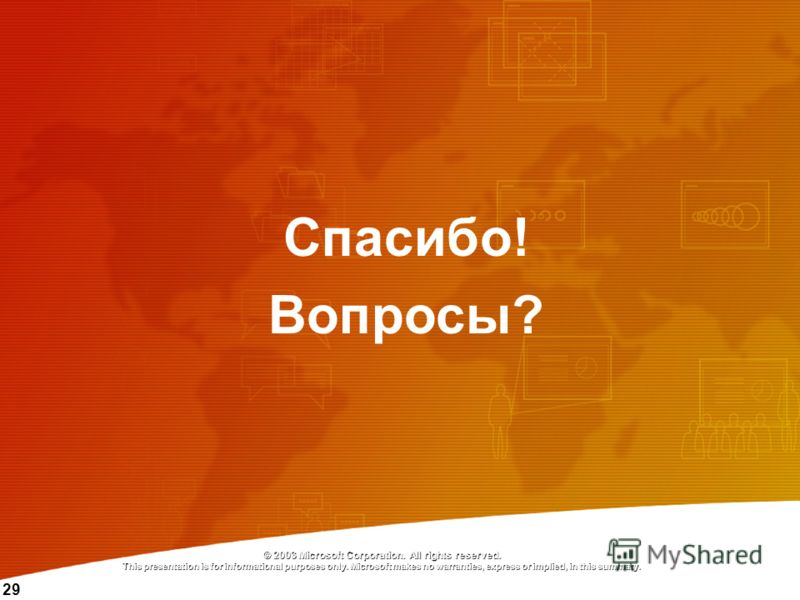 29 © 2003 Microsoft Corporation. All rights reserved. This presentation is for informational purposes only. Microsoft makes no warranties, express or implied, in this summary. Спасибо! Вопросы?