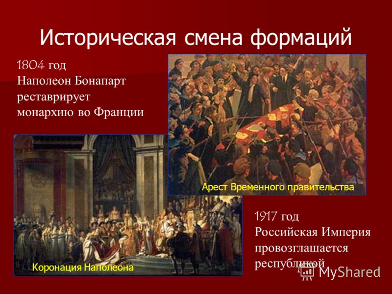 Историческая смена формаций 1804 год Наполеон Бонапарт реставрирует монархию во Франции 1917 год Российская Империя провозглашается республикой Арест Временного правительства Коронация Наполеона