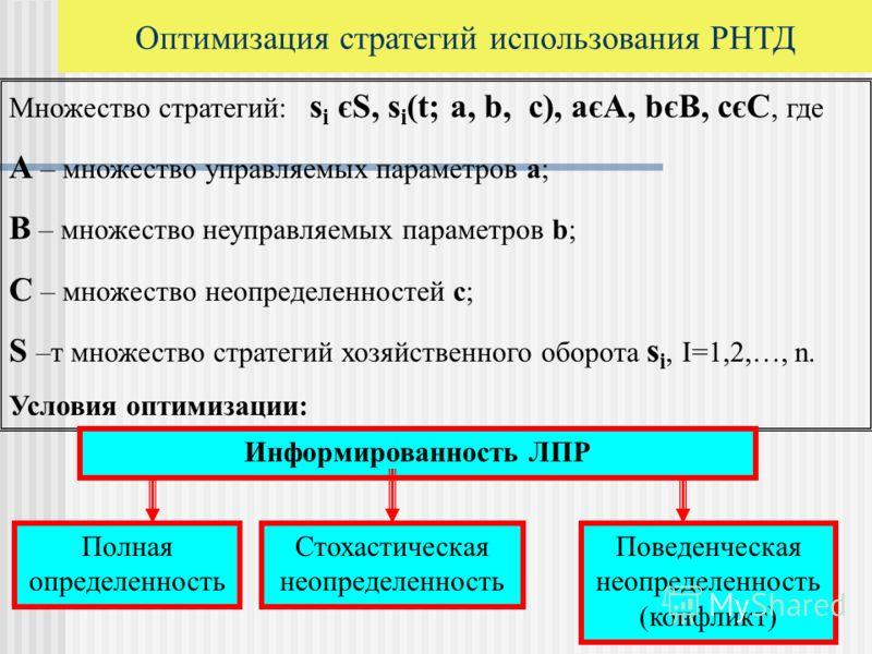 Множество стратегий: s i єS, s i (t; а, b, c), aєA, bєB, cєC, где А – множество управляемых параметров а; B – множество неуправляемых параметров b; С – множество неопределенностей с; S –т множество стратегий хозяйственного оборота s i, I=1,2,…, n. Ус
