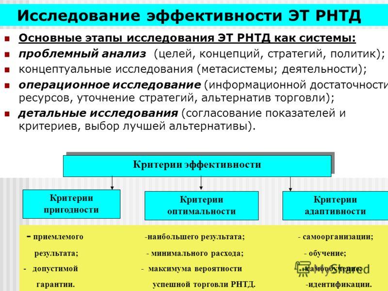 Исследование эффективности ЭТ РНТД Основные этапы исследования ЭТ РНТД как системы: проблемный анализ (целей, концепций, стратегий, политик); концептуальные исследования (метасистемы; деятельности); операционное исследование (информационной достаточн