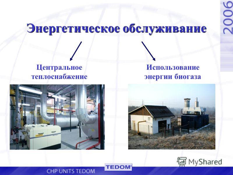 Энергетическое обслуживание Центральное теплоснабжение Использование энергии биогаза
