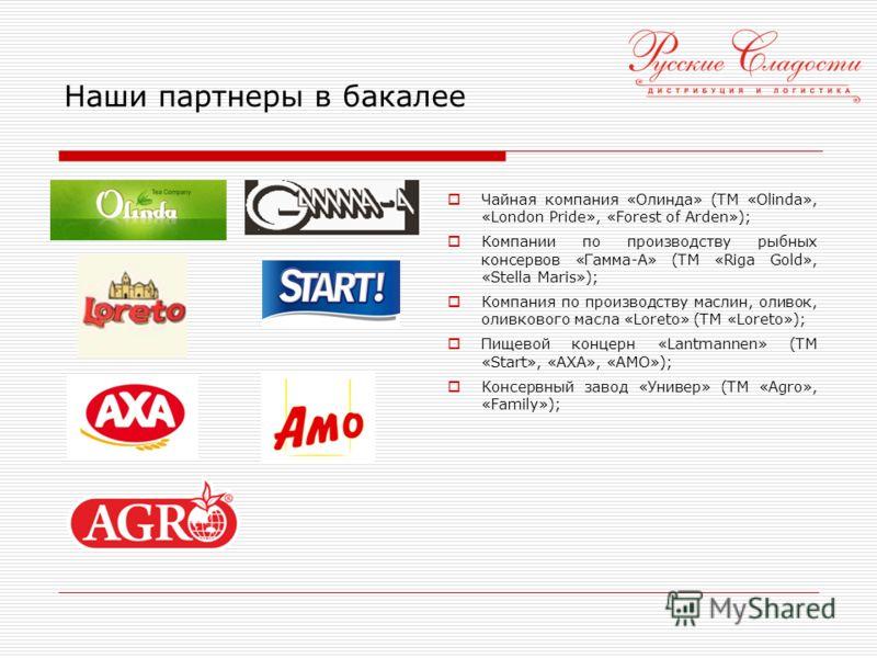 Наши партнеры в бакалее Чайная компания «Олинда» (ТМ «Olinda», «London Pride», «Forest of Arden»); Компании по производству рыбных консервов «Гамма-А» (ТМ «Riga Gold», «Stella Maris»); Компания по производству маслин, оливок, оливкового масла «Loreto