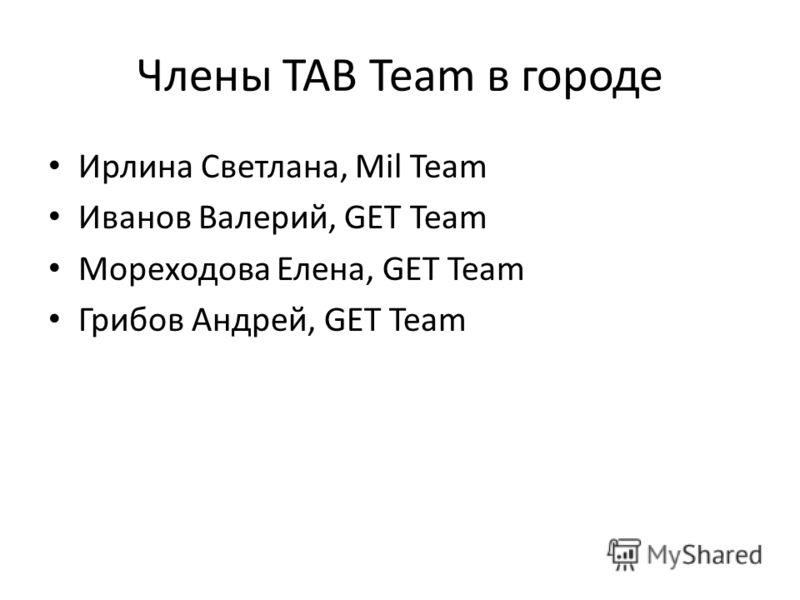 Члены TAB Team в городе Ирлина Светлана, Mil Team Иванов Валерий, GET Team Мореходова Елена, GET Team Грибов Андрей, GET Team