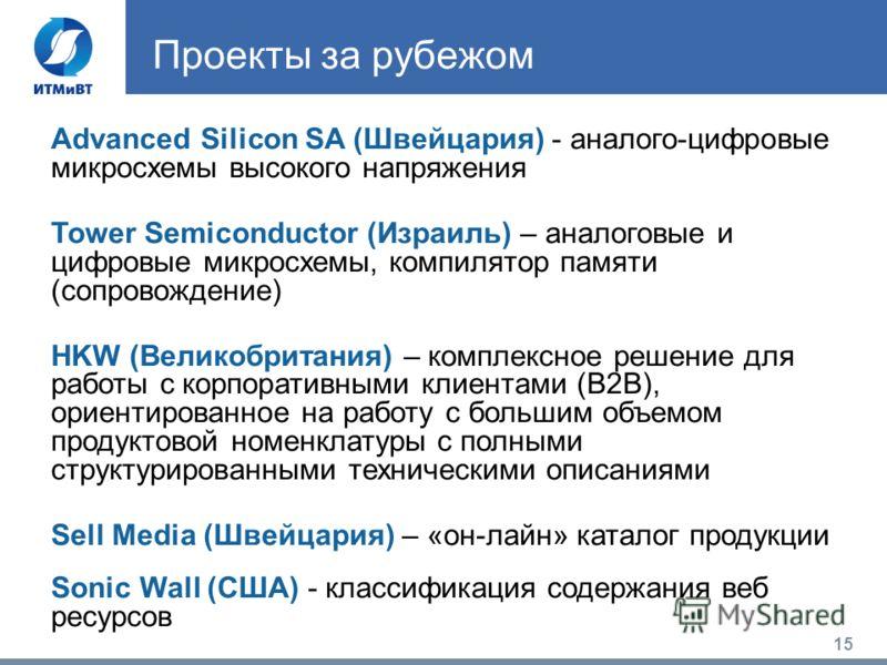 15 Проекты за рубежом Advanced Silicon SA (Швейцария) - аналого-цифровые микросхемы высокого напряжения Tower Semiconductor (Израиль) – аналоговые и цифровые микросхемы, компилятор памяти (сопровождение) HKW (Великобритания) – комплексное решение для