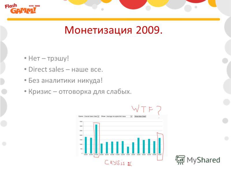 Нет – трэшу! Direct sales – наше все. Без аналитики никуда! Кризис – отговорка для слабых. Монетизация 2009.