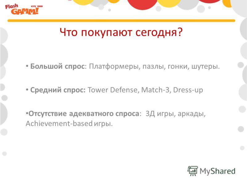 Большой спрос: Платформеры, пазлы, гонки, шутеры. Средний спрос: Tower Defense, Match-3, Dress-up Отсутствие адекватного спроса: 3Д игры, аркады, Achievement-based игры. Что покупают сегодня?