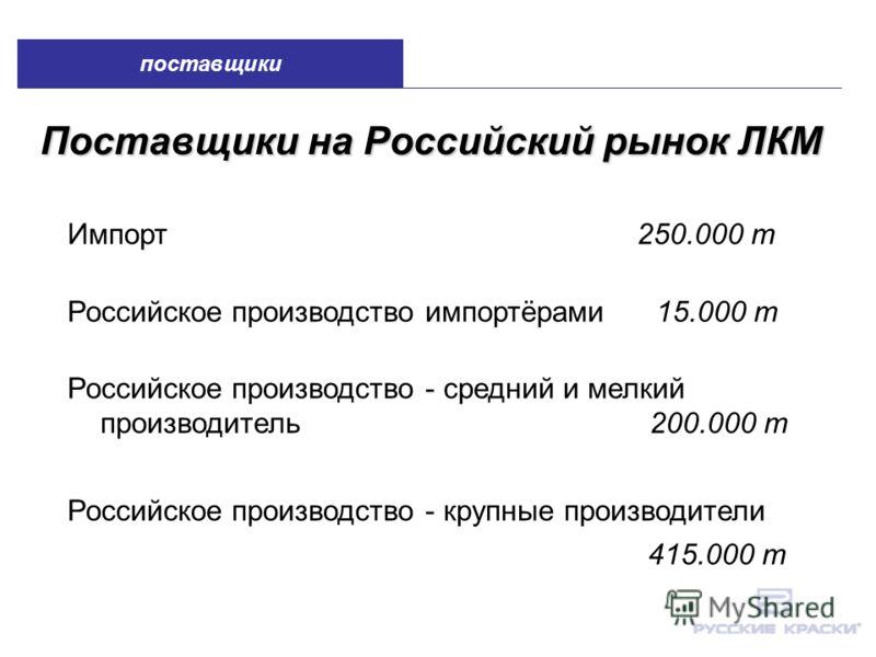 Поставщики на Российский рынок ЛКМ Импорт 250.000 т Российское производство импортёрами 15.000 т Российское производство - средний и мелкий производитель 200.000 т Российское производство - крупные производители 415.000 т поставщики