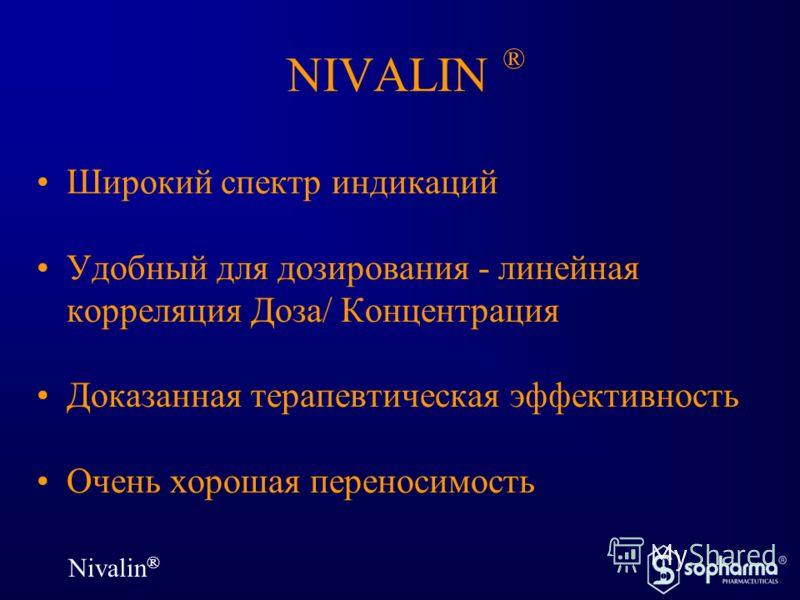 Nivalin ® NIVALIN ® Широкий спектр индикаций Удобный для дозирования - линейная корреляция Доза/ Концентрация Доказанная терапевтическая эффективность Очень хорошая переносимость