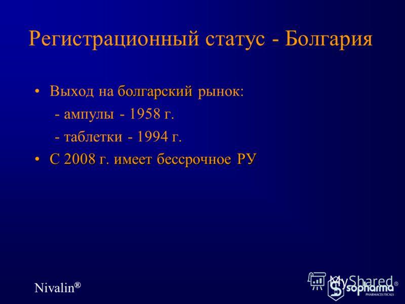 Nivalin ® Регистрационный статус - Болгария болгарскийВыход на болгарский рынок: - ампулы - 1958 г. - таблетки - 1994 г. С 2008 г. имеет бессрочное РУС 2008 г. имеет бессрочное РУ