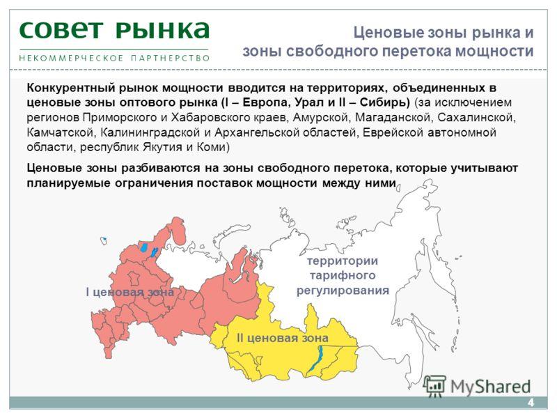 4 Ценовые зоны рынка и зоны свободного перетока мощности 4 Конкурентный рынок мощности вводится на территориях, объединенных в ценовые зоны оптового рынка (I – Европа, Урал и II – Сибирь) (за исключением регионов Приморского и Хабаровского краев, Аму