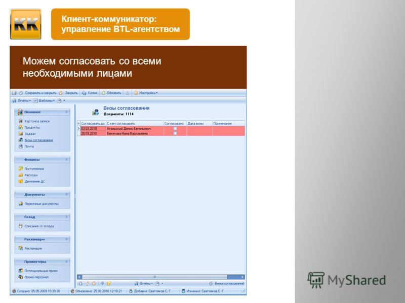 письменно устно Клиент ставит задачу Создаём карточку проекта, в которой фиксируем задачу Можем согласовать со всеми необходимыми лицами Клиент-коммуникатор: управление BTL-агентством