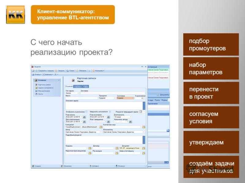 С чего начать реализацию проекта? Клиент-коммуникатор: управление BTL-агентством подбор промоутеров набор параметров перенести в проект согласуем условия утверждаем создаём задачи для участников