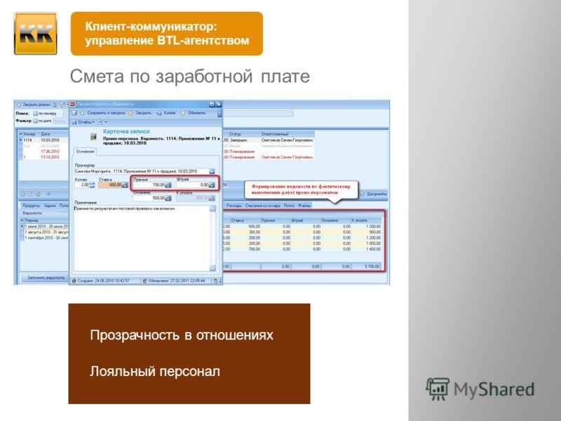 Смета по заработной плате выполненные работы штрафы премии остаток Прозрачность в отношениях Лояльный персонал Клиент-коммуникатор: управление BTL-агентством