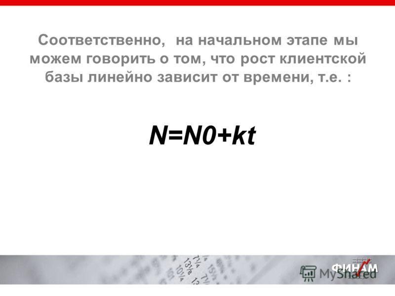Соответственно, на начальном этапе мы можем говорить о том, что рост клиентской базы линейно зависит от времени, т.е. : N=N0+kt