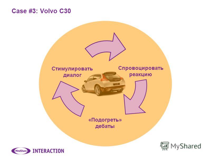 Case #3: Volvo C30 Спровоцировать реакцию «Подогреть» дебаты Стимулировать диалог