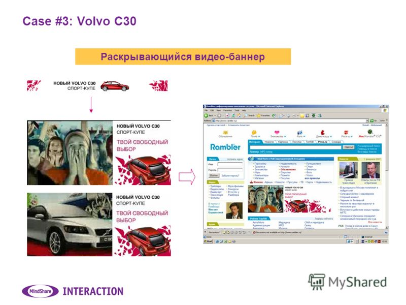 Case #3: Volvo C30 Раскрывающийся видео-баннер