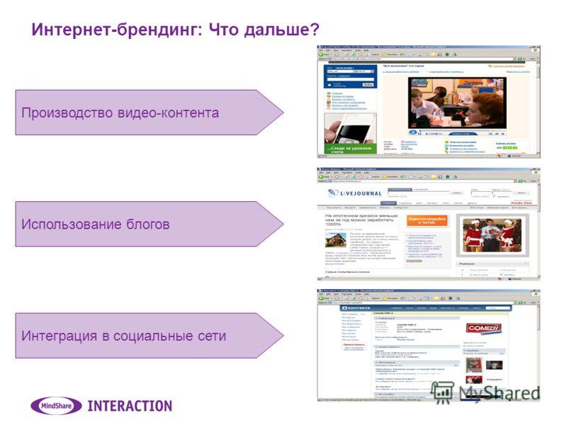 Интернет-брендинг: Что дальше? Производство видео-контента Использование блогов Интеграция в социальные сети