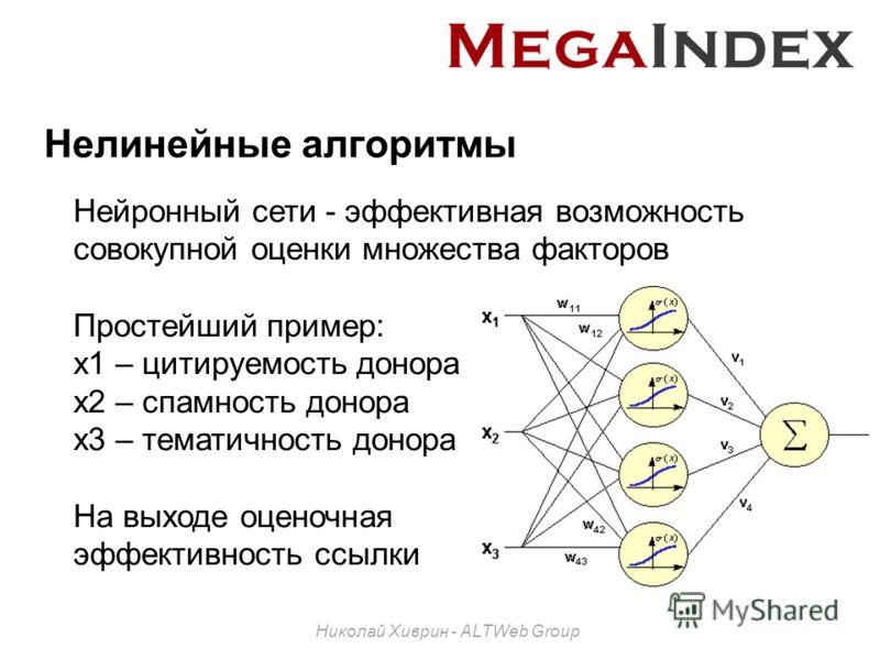 Нелинейные алгоритмы Николай Хиврин - ALTWeb Group Нейронный сети - эффективная возможность совокупной оценки множества факторов Простейший пример: x1 – цитируемость донора x2 – спамность донора x3 – тематичность донора На выходе оценочная эффективно