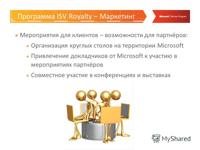Программа ISV Royalty – Маркетинг Мероприятия для клиентов – возможности для партнёров: Организация круглых столов на территории Microsoft Привлечение докладчиков от Microsoft к участию в мероприятиях партнёров Совместное участие в конференциях и выс
