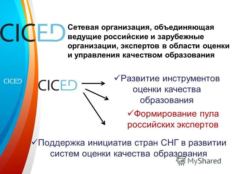 Сетевая организация, объединяющая ведущие российские и зарубежные организации, экспертов в области оценки и управления качеством образования Развитие инструментов оценки качества образования Формирование пула российских экспертов Поддержка инициатив