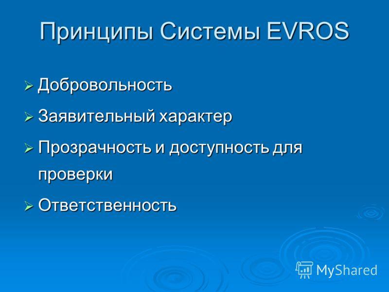 Принципы Системы EVROS Добровольность Добровольность Заявительный характер Заявительный характер Прозрачность и доступность для проверки Прозрачность и доступность для проверки Ответственность Ответственность