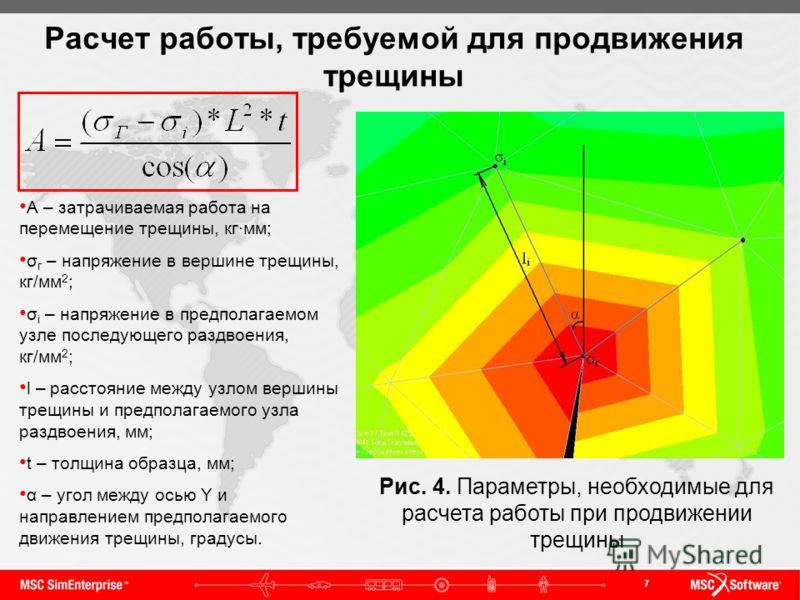 7 Расчет работы, требуемой для продвижения трещины Рис. 4. Параметры, необходимые для расчета работы при продвижении трещины А – затрачиваемая работа на перемещение трещины, кг·мм; σ г – напряжение в вершине трещины, кг/мм 2 ; σ i – напряжение в пред