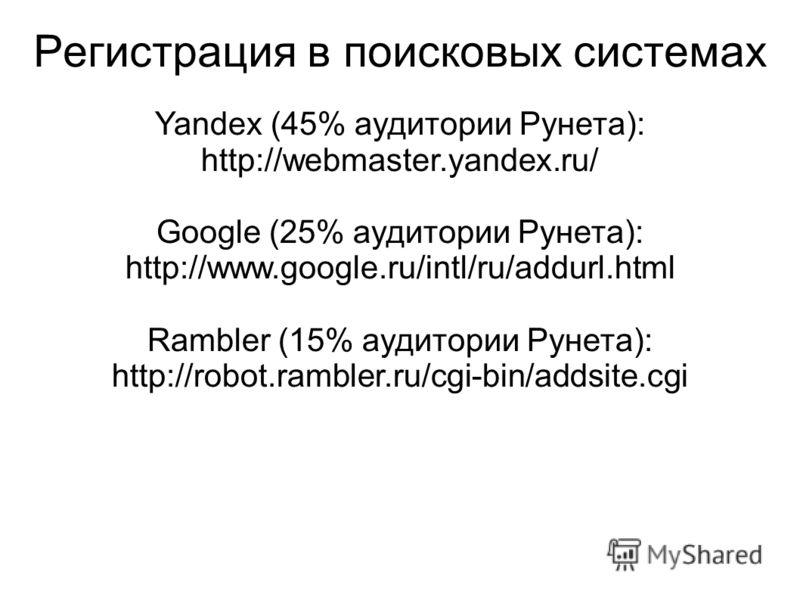 Регистрация в поисковых системах Yandex (45% аудитории Рунета): http://webmaster.yandex.ru/ Google (25% аудитории Рунета): http://www.google.ru/intl/ru/addurl.html Rambler (15% аудитории Рунета): http://robot.rambler.ru/cgi-bin/addsite.cgi