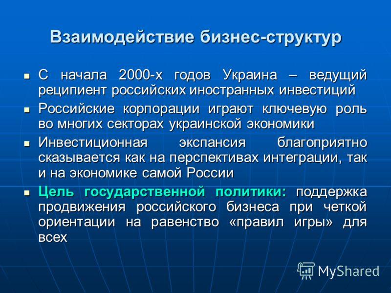 Взаимодействие бизнес-структур С начала 2000-х годов Украина – ведущий реципиент российских иностранных инвестиций С начала 2000-х годов Украина – ведущий реципиент российских иностранных инвестиций Российские корпорации играют ключевую роль во многи
