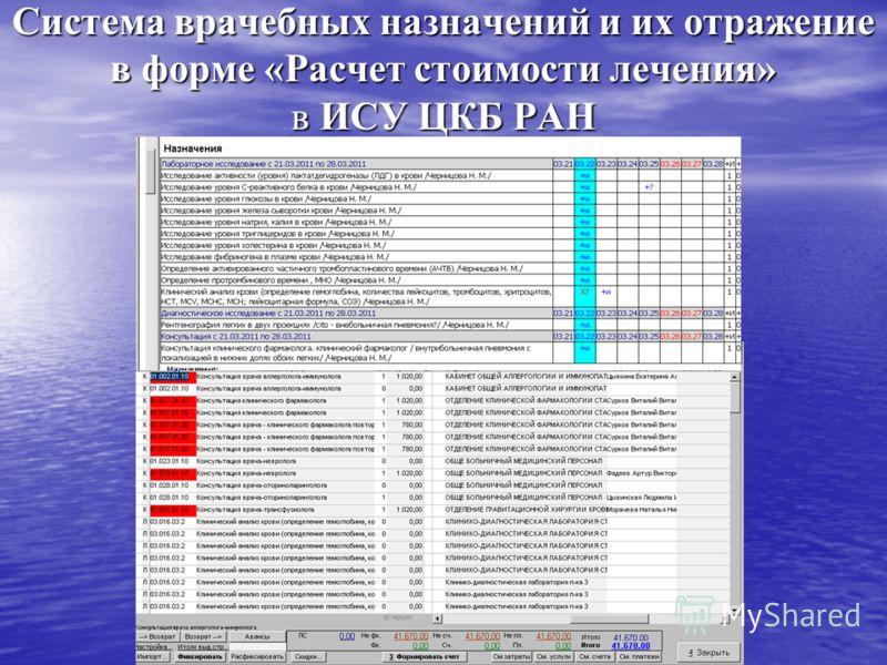 Система врачебных назначений и их отражение в форме «Расчет стоимости лечения» в ИСУ ЦКБ РАН