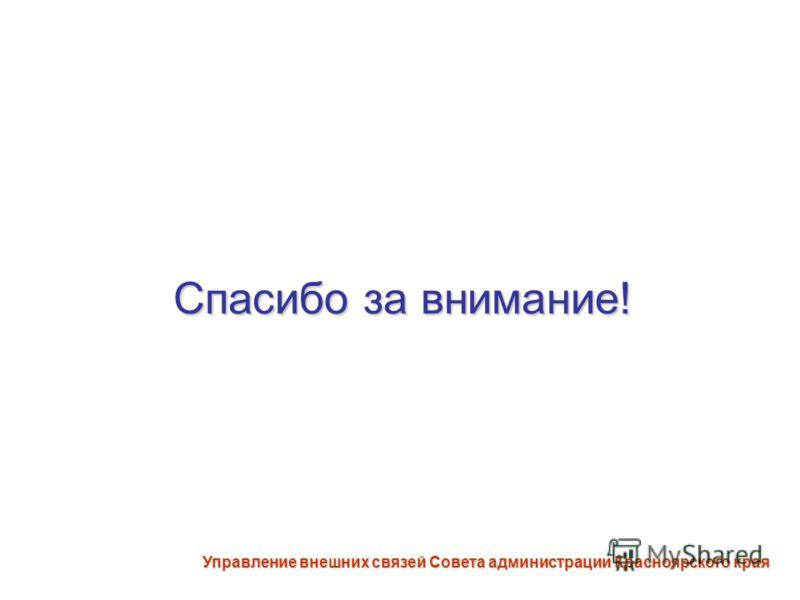 Спасибо за внимание! Управление внешних связей Совета администрации Красноярского края