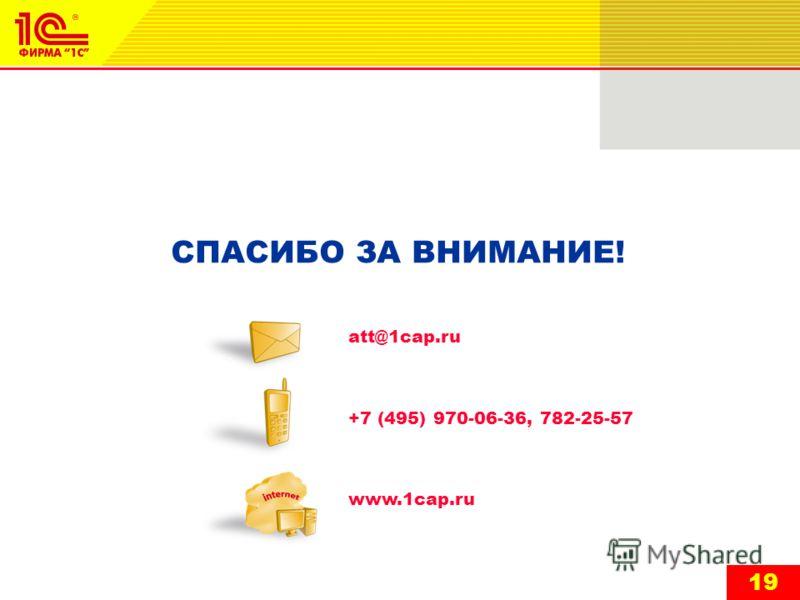 19 СПАСИБО ЗА ВНИМАНИЕ! att@1cap.ru +7 (495) 970-06-36, 782-25-57 www.1cap.ru