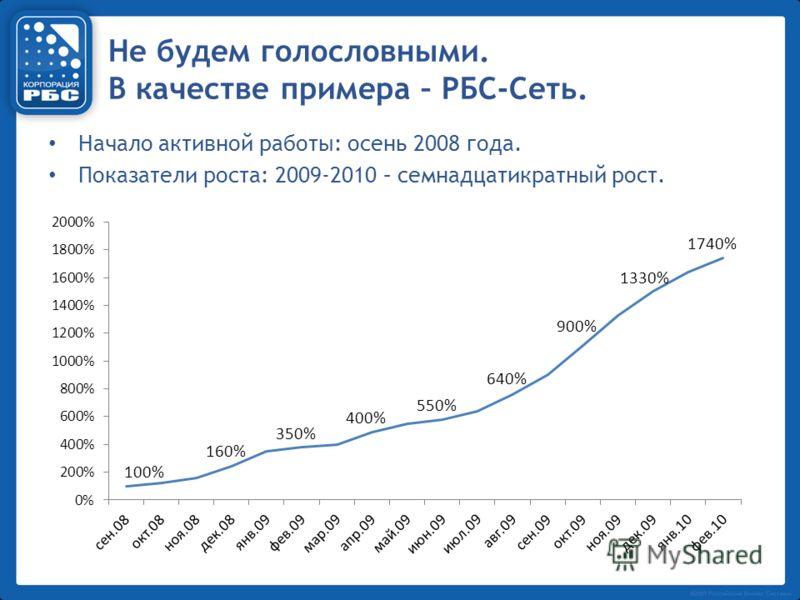 Не будем голословными. В качестве примера – РБС-Сеть. Начало активной работы: осень 2008 года. Показатели роста: 2009-2010 – семнадцатикратный рост.