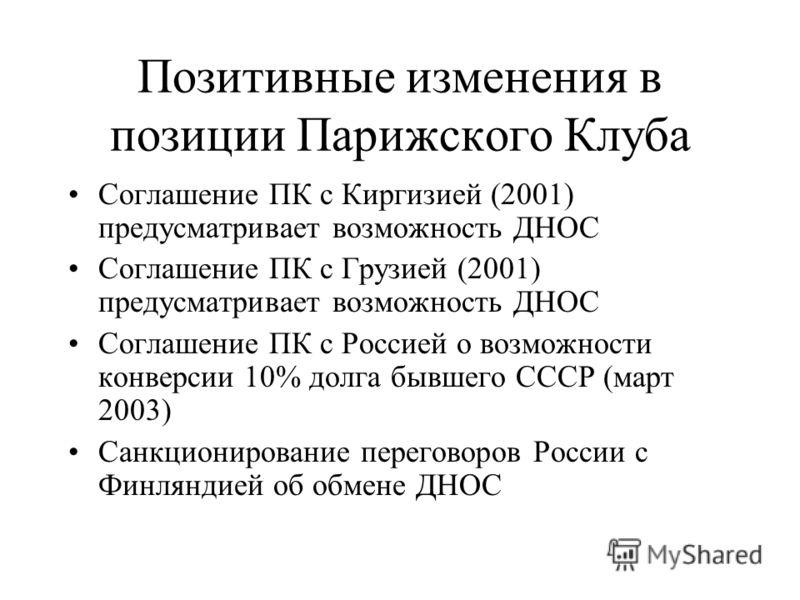 Позитивные изменения в позиции Парижского Клуба Соглашение ПК с Киргизией (2001) предусматривает возможность ДНОС Соглашение ПК с Грузией (2001) предусматривает возможность ДНОС Соглашение ПК с Россией о возможности конверсии 10% долга бывшего СССР (
