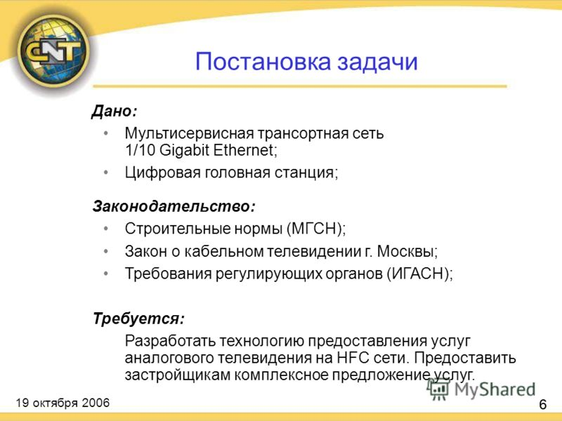 19 октября 2006 6 Дано: Мультисервисная трансортная сеть 1/10 Gigabit Ethernet; Цифровая головная станция; Законодательство: Строительные нормы (МГСН); Закон о кабельном телевидении г. Москвы; Требования регулирующих органов (ИГАСН); Требуется: Разра