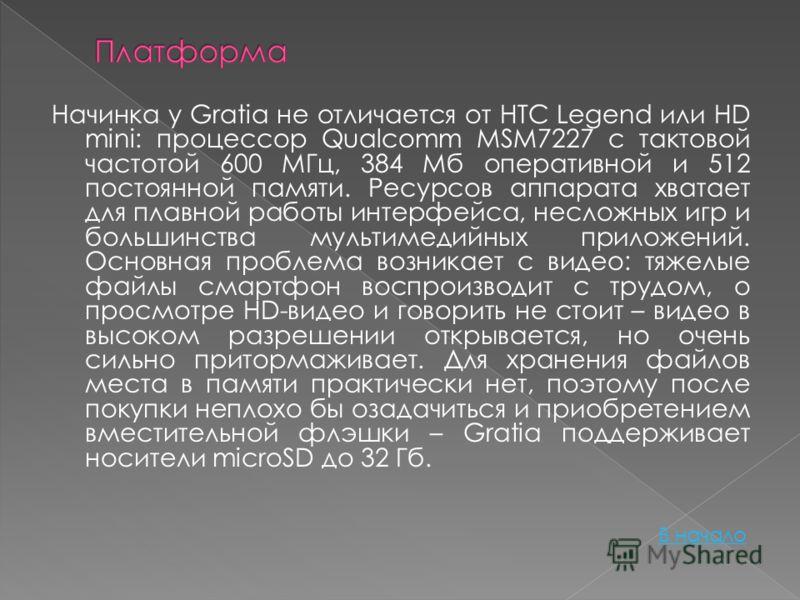 Начинка у Gratia не отличается от HTC Legend или HD mini: процессор Qualcomm MSM7227 с тактовой частотой 600 МГц, 384 Мб оперативной и 512 постоянной памяти. Ресурсов аппарата хватает для плавной работы интерфейса, несложных игр и большинства мультим