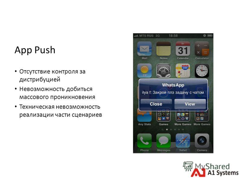 App Push Отсутствие контроля за дистрибуцией Невозможность добиться массового проникновения Техническая невозможность реализации части сценариев