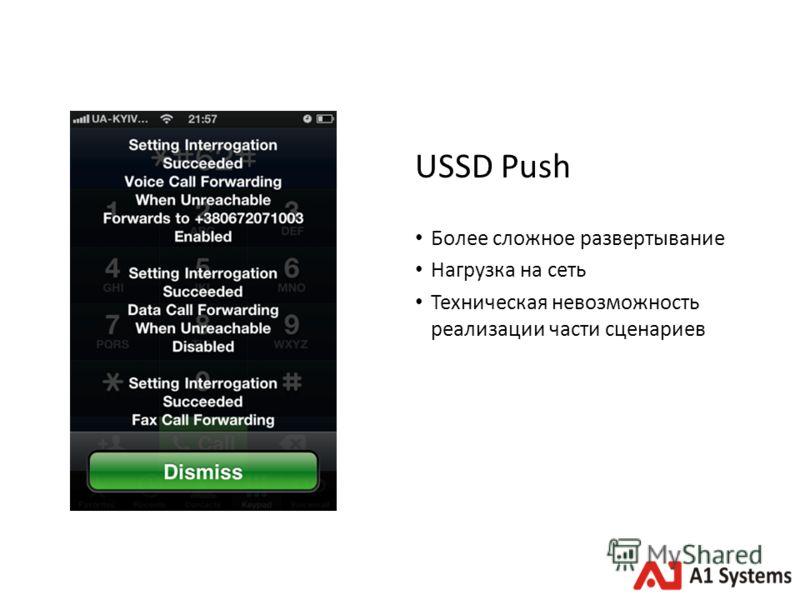 USSD Push Более сложное развертывание Нагрузка на сеть Техническая невозможность реализации части сценариев