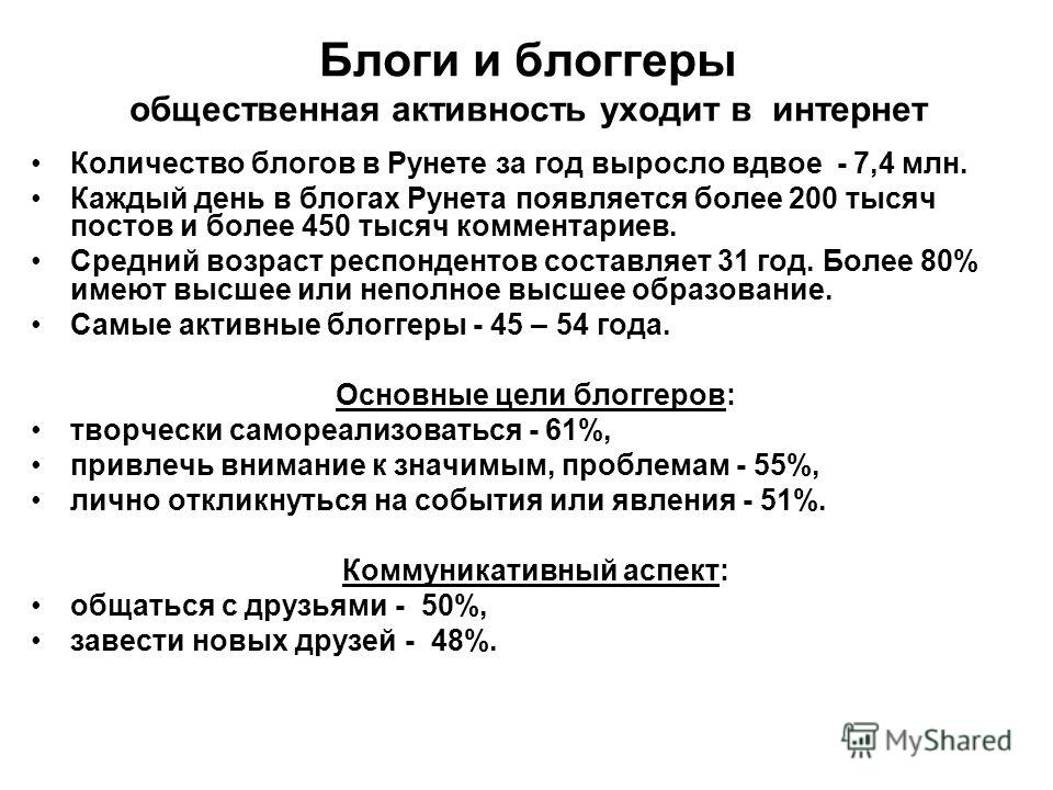 Блоги и блоггеры общественная активность уходит в интернет Количество блогов в Рунете за год выросло вдвое - 7,4 млн. Каждый день в блогах Рунета появляется более 200 тысяч постов и более 450 тысяч комментариев. Средний возраст респондентов составляе
