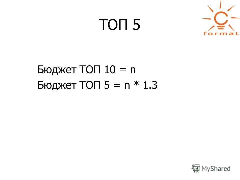 ТОП 5 Бюджет ТОП 10 = n Бюджет ТОП 5 = n * 1.3