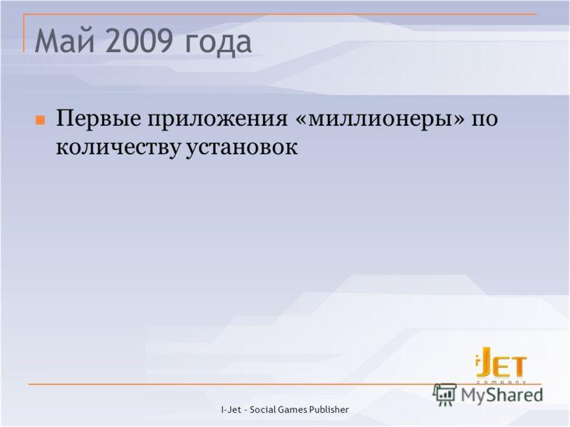 Май 2009 года Первые приложения «миллионеры» по количеству установок I-Jet - Social Games Publisher