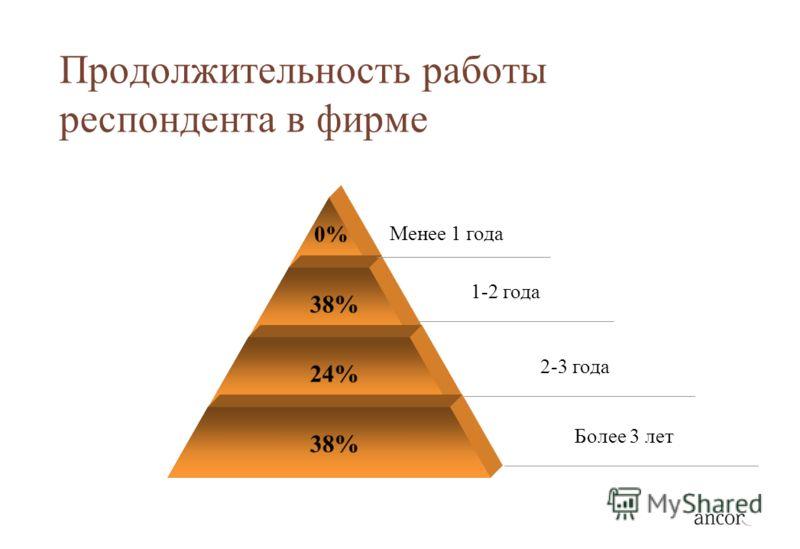 Продолжительность работы респондента в фирме 0% 38% 24% 38% Менее 1 года 1-2 года 2-3 года Более 3 лет