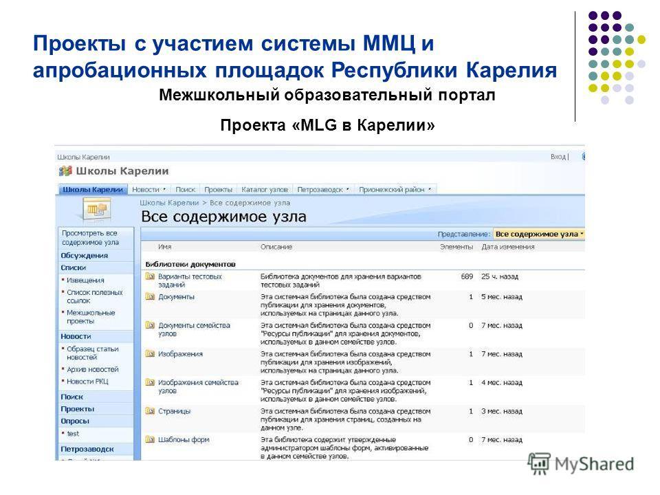 Межшкольный образовательный портал Проекта «MLG в Карелии» Проекты с участием системы ММЦ и апробационных площадок Республики Карелия