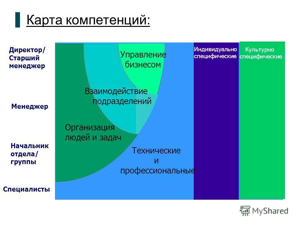 Карта компетенций: Директор/ Старший менеджер Менеджер Начальник отдела/ группы Специалисты Индивидуально специфические Культурно специфические Управление бизнесом Взаимодействие подразделений Технические и профессиональные Организация людей и задач